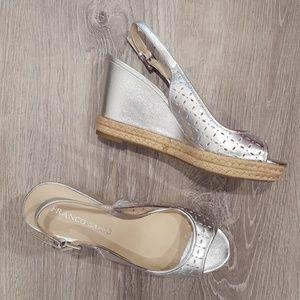 Franco Sarto Silver Wedge Sandals
